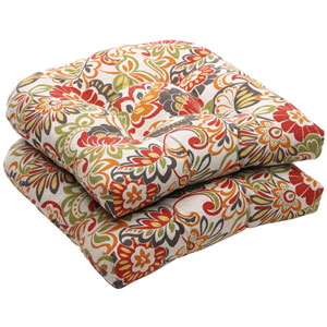 Outdoor Multicolored Floral Wicker Seat Cushions, Set of Two