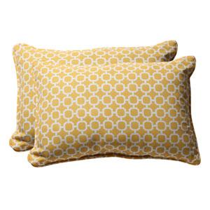 Decorative Yellow/White Geometric Toss Pillow Rectangle, Set of Two