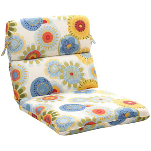 Outdoor Multicolored Floral Chair Cushion Rounded