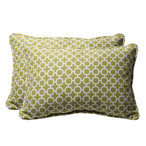 Decorative Green/White Geometric Toss Pillow Rectangle, Set of Two