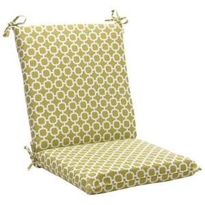 Outdoor Green/White Geometric Chair Cushion Squared
