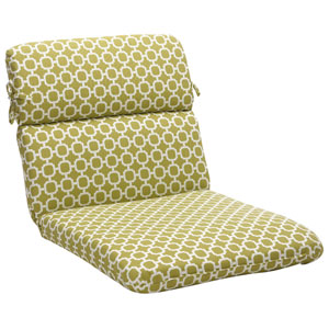 Outdoor Green/White Geometric Chair Cushion Rounded