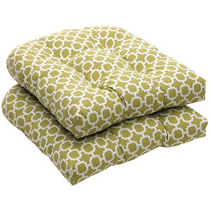 Outdoor Green/White Geometric Wicker Seat Cushions, Set of Two