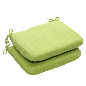Outdoor Green Textured Solid Seat Cushion Rounded, Set of Two