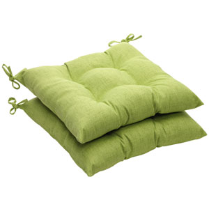 Outdoor Green Textured Solid Tufted Seat Cushion (Set of 2)