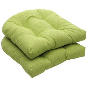 Outdoor Green Textured Solid Wicker Seat Cushions, Set of Two