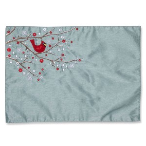 Blue Holiday Cardinal on Snowy Branch Placemat, Set of Two