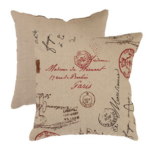 Linen and Red French Postale 18-Inch Throw Pillow