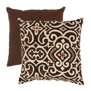Brown and Beige Damask 18-Inch Throw Pillow