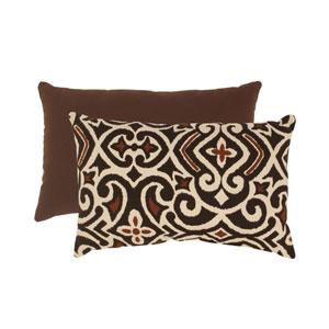 Brown and Beige Damask Rectangular Throw Pillow
