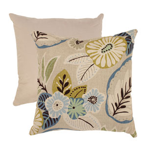 Beige and Blue Tropical 18-Inch Throw Pillow