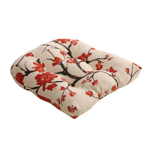 Flowering Branch Chair Cushion in Beige and Red