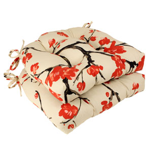 Beige and Red Flowering Branch Reversible Chair Pad, Set of Two