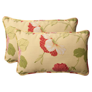 Outdoor Risa Corded Rectangular Throw Pillow in Lemonade, Set of Two