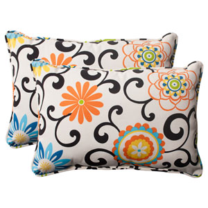 Pom Pom Play Corded Oversized Rectangular Throw Pillow in Lagoon, Set of Two