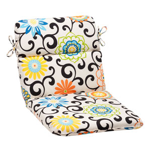 Pom Pom Play Rounded Chair Cushion in Lagoon