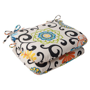 Pom Pom Play Rounded Seat Cushion in Lagoon, Set of Two