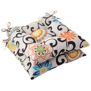 Pom Pom Play Tufted Seat Cushion in Lagoon, Set of Two