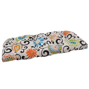 Pom Pom Play Wicker Loveseat Cushion in Lagoon