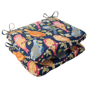 Outdoor Ash Hill Rounded Seat Cushion in Navy, Set of Two