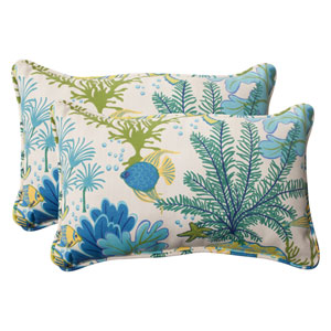 Outdoor Splish Splash Corded Rectangular Throw Pillow in Blue, Set of Two