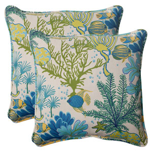 Outdoor Splish Splash Corded 18.5-Inch Throw Pillow in Blue, Set of Two