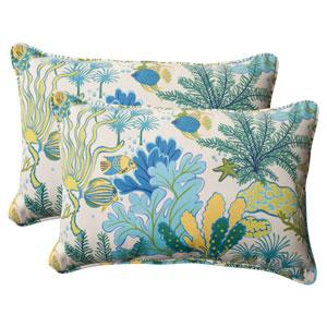 Outdoor Splish Splash Corded Oversized Rectangular Throw Pillow in Blue, Set of Two