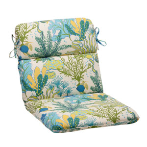 Outdoor Splish Splash Rounded Chair Cushion in Blue