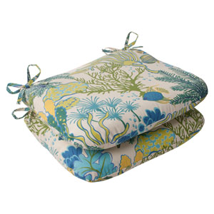 Outdoor Splish Splash Rounded Seat Cushion in Blue, Set of Two