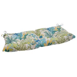Outdoor Splish Splash Tufted Loveseat Cushion in Blue
