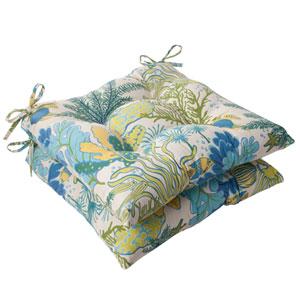 Outdoor Splish Splash Tufted Seat Cushion in Blue, Set of Two