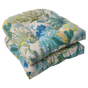 Outdoor Splish Splash Wicker Seat Cushion in Blue, Set of Two