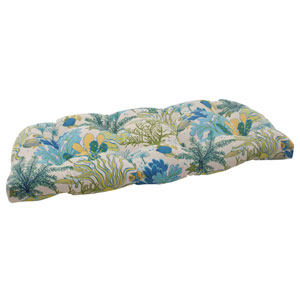 Outdoor Splish Splash Wicker Loveseat Cushion in Blue