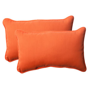 Outdoor Sundeck Corded Rectangular Throw Pillow in Orange, Set of Two