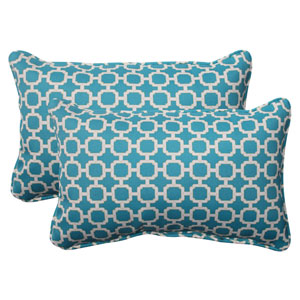 Outdoor Hockley Corded Rectangular Throw Pillow in Teal, Set of Two