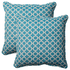 Outdoor Hockley Corded 18.5-Inch Throw Pillow in Teal, Set of Two