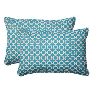 Outdoor Hockley Corded Oversized Rectangular Throw Pillow in Teal, Set of Two