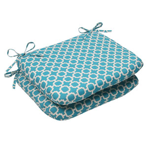Outdoor Hockley Rounded Seat Cushion in Teal, Set of Two
