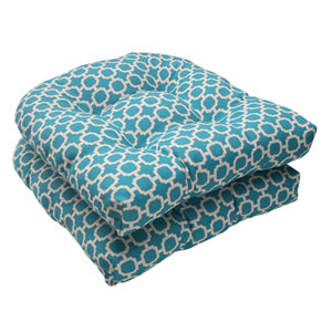 Outdoor Hockley Wicker Seat Cushion in Teal, Set of Two