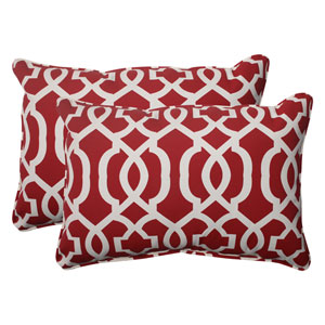 Outdoor New Geo Corded Oversized Rectangular Throw Pillow in Red, Set of Two
