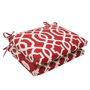Outdoor New Geo Squared Seat Cushion in Red, Set of Two