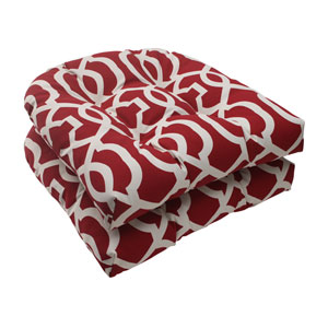 Outdoor New Geo Wicker Seat Cushion in Red, Set of Two