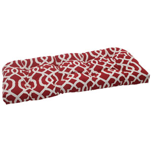 Outdoor New Geo Wicker Loveseat Cushion in Red