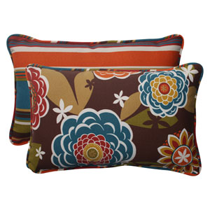Outdoor Annie|Westport Reversible Corded Rectangular Throw Pillow in Chocolate, Set of Two