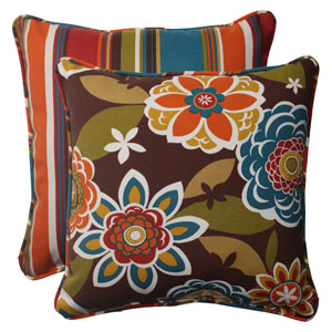 Outdoor Annie Westport Reversible Corded 18.5-Inch Throw Pillow in Chocolate, Set of Two