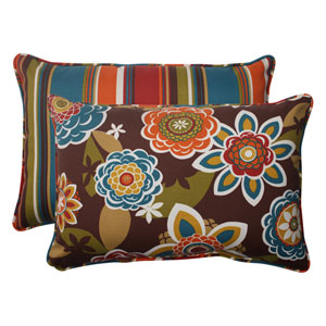 Outdoor Annie|Westport Reversible Corded Oversized Rectangular Throw Pillow in Chocolate, Set of Two