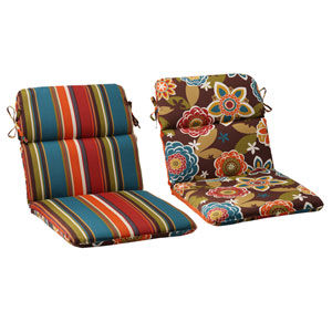 Outdoor Annie|Westport Reversible Rounded Chair Cushion in Chocolate