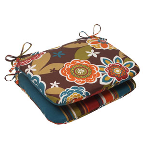 Outdoor Annie|Westport Reversible Rounded Seat Cushion in Chocolate, Set of Two