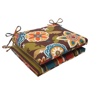 Outdoor Annie|Westport Reversible Squared Seat Cushion in Chocolate, Set of Two