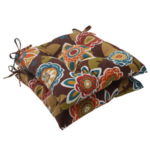 Outdoor Annie Tufted Seat Cushion in Chocolate, Set of Two